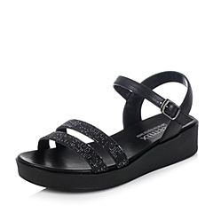 Teenmix/天美意2017夏黑色时尚细带舒适厚底女凉鞋6Z901BL7