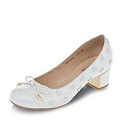 Teenmix/天美意春季白色漆皮牛皮女单鞋卡乐鞋6PB06AQ7