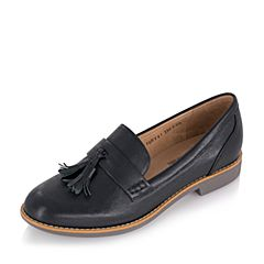 Teenmix/天美意2017春黑色牛皮光感变色女单鞋卡乐鞋麦穗鞋6RY41AQ7