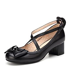 Teenmix/天美意春季黑色绵羊皮洛丽塔女单鞋甜心皇后的茶会6H905AQ7