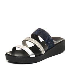 Teenmix/天美意夏专柜同款银/白米色钻饰多条带平跟女凉拖鞋6Z915BT7