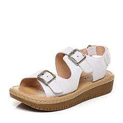 Teenmix/天美意夏专柜同款白色牛皮金属扣厚底女凉鞋6X703BL7