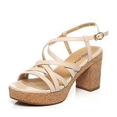 Teenmix/天美意夏专柜同款米色山羊皮罗马风多条带粗高跟女凉鞋6X903BL7