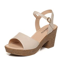 Teenmix/天美意夏专柜同款白色牛皮简约优雅粗高跟女凉鞋6YB05BL7