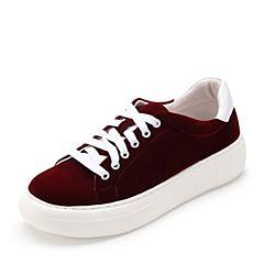 Teenmix/天美意2017春季酒红色纺织品女休闲鞋系带鞋81185AM7