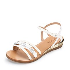 Teenmix/天美意夏白/银色漆皮牛皮甜美花朵编织条带卡乐凉鞋女凉鞋6K703BL7