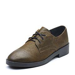 Teenmix/天美意2017秋专柜同款墨绿色珠光牛皮方跟系带鞋女单鞋6B522CM7