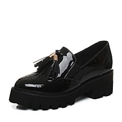 Teenmix/天美意2017秋黑色漆皮牛皮布洛克英伦风乐福鞋女单鞋0176DCM7