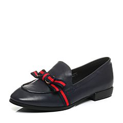 Teenmix/天美意秋深兰/红蓝色羊皮/纺织品英伦乐福鞋女单鞋1083DCM7