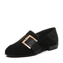 Teenmix/天美意2017秋黑色羊绒皮/牛皮率性穆勒乐福鞋女单鞋10823CM7
