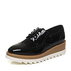 Teenmix/天美意2017秋专柜同款黑色漆牛皮英伦风松糕布洛克鞋女单鞋6B420CM7