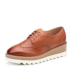 Teenmix/天美意2017秋专柜同款棕色牛皮英伦风松糕布洛克鞋女单鞋6B420CM7