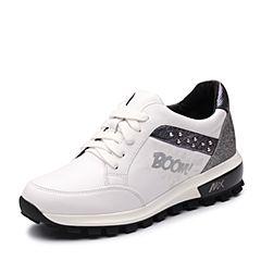 Teenmix/天美意秋专柜同款白/银色牛皮厚底运动风女休闲鞋6T925CM7