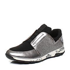 Teenmix/天美意2017秋专柜同款银色山羊皮/纺织品女休闲鞋6Y620CM7