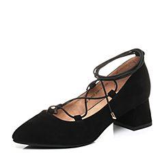 Teenmix/天美意2017秋黑色羊绒皮时髦尖头优雅粗跟绑带鞋女单鞋6B602CQ7