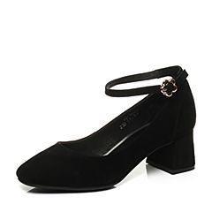 Teenmix/天美意2017秋黑色羊皮复古时髦优雅粗跟玛丽珍鞋女单鞋2273DCQ7