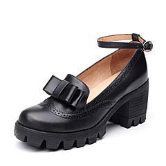 Teenmix/天美意2017秋专柜同款黑色牛皮英伦风粗跟玛丽珍鞋女单鞋6E804CQ7