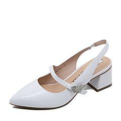 Teenmix/天美意2017夏专柜同款白色羊皮复古优雅后空女凉鞋AP291BH7炫舞联名款
