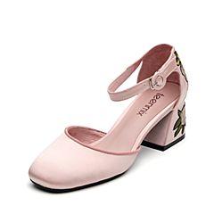 Teenmix/天美意秋粉色织物精美刺绣时尚优雅女凉鞋18902CK7