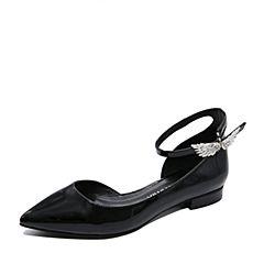 Teenmix/天美意2017夏专柜同款黑色牛皮个性优雅女凉鞋AP301BK7炫舞联名款