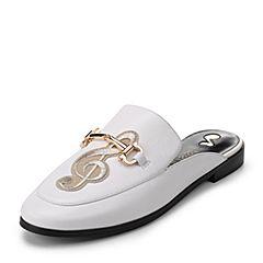 Teenmix/天美意2017秋白色牛皮/纺织品文艺音符穆勒鞋女凉鞋16065CH7炫舞联名款