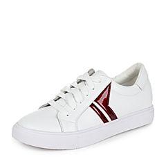 Teenmix/天美意秋红/白色牛皮时尚撞色学院风系带鞋女休闲鞋女鞋76609CM7