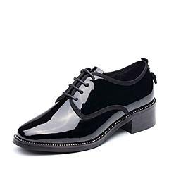 Teenmix/天美意2017秋专柜同款黑色漆皮简约方跟系带鞋女单鞋AP281CM7