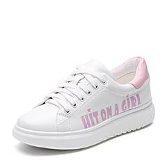 Teenmix/天美意2017秋专柜同款白/粉色牛皮撞色系带鞋女休闲鞋6W520CM7