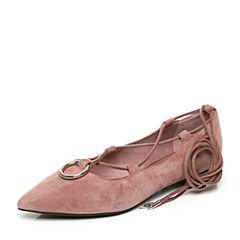 Teenmix/天美意秋专柜同款粉色羊绒皮/织物绑带鞋浅口女单鞋AP191CQ7