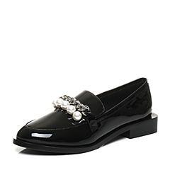 Teenmix/天美意2017秋专柜同款黑色漆皮牛皮英伦风乐福鞋女单鞋AP251CQ7