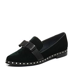 Teenmix/天美意2017秋专柜同款绿色率性方跟乐福鞋女单鞋AP211CQ7