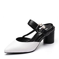 Teenmix/天美意夏专柜同款白/黑色羊皮珠饰粗高跟后空女凉鞋AP571BH7