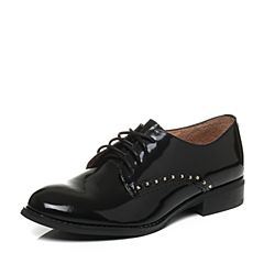 Teenmix/天美意2017秋黑色光面小牛皮率性方跟系带鞋女单鞋6T424CM7