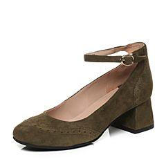 Teenmix/天美意秋绿色羊绒皮复古粗跟玛丽珍鞋女单鞋6U806CQ7
