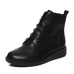 Teenmix/天美意2017冬季黑色小牛皮英伦学院风马丁靴女靴CBJ43DD7