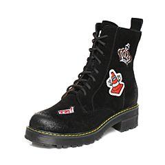 Teenmix/天美意2017冬季黑/白色二层牛皮趣味刺绣图案马丁靴女靴6WL64DZ7