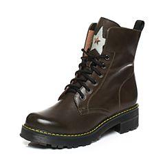 Teenmix/天美意2017冬季绿/银色牛皮星星铆钉马丁靴女靴6WL67DZ7