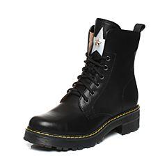 Teenmix/天美意2017冬季黑/银色牛皮星星铆钉马丁靴卡乐变色鞋女靴6WL67DZ7