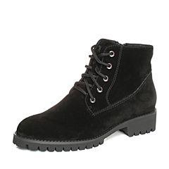 Teenmix/天美意2017冬黑色羊绒皮时尚简约方跟马丁靴女短靴18001DD7