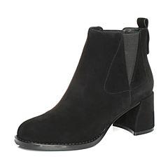 Teenmix/天美意2017冬黑色羊绒皮简约优雅粗跟切尔西靴女短靴55071DD7