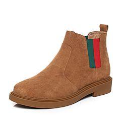 Teenmix/天美意2017冬棕色牛剖层皮撞色织带切尔西靴女短靴35406DD7