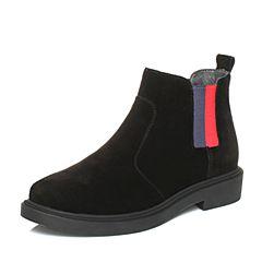 Teenmix/天美意2017冬黑色牛剖层皮撞色织带切尔西靴女短靴35406DD7