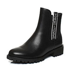 Teenmix/天美意2017冬黑色牛皮/纺织品字母织带优雅方跟女靴DF011DZ7