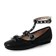 Teenmix/天美意2017秋黑色羊皮潮酷率性时尚芭蕾舞单鞋女鞋J6602CQ7