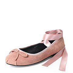 Teenmix/天美意2017秋粉色羊绒皮优雅小方跟甜美绑带芭蕾舞单鞋女鞋16105CQ7