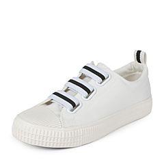 Teenmix/天美意秋白色纺织品条纹织带青春活力帆布鞋女休闲鞋女鞋K1701CM7