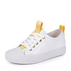 Teenmix/天美意秋白/黄色牛皮个性字母织带学院风系带鞋女休闲鞋女鞋RL609CM7