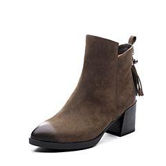 Teenmix/天美意2017冬专柜同款绿色磨砂牛皮粗跟流苏靴女短靴6B341DD7