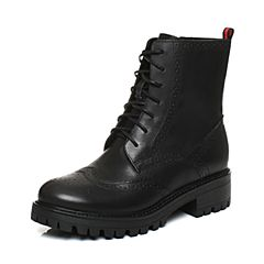 Teenmix/天美意2017冬专柜同款黑色牛皮英伦风马丁靴女靴CA360DZ7