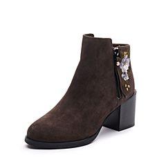 Teenmix/天美意2017冬专柜同款深灰色羊绒皮精美绣花粗跟女短靴CBG42DD7